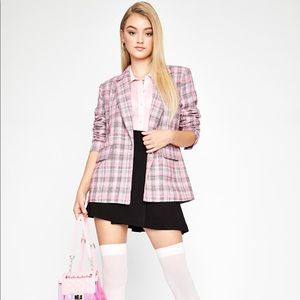 Dolls Kill Jackets & Coats - Dolls Kill Sugar Thrillz Pink Plaid Blazer S